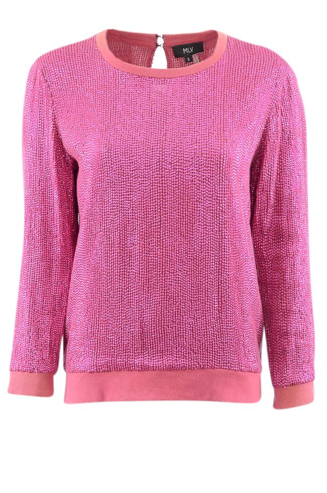 MLV Sequin Scoop Neck Pullover Sweater - S APPAREL MLV S Purple