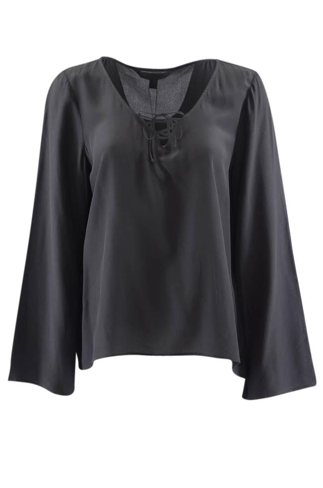 Dora Landa Sheer Lace Up Long Wide Sleeve Blouse - M APPAREL Dora Landa M Black