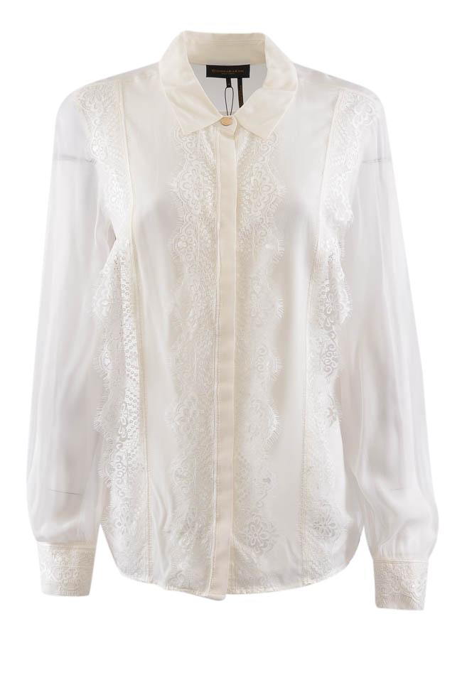 DKNY Long Sleeve Button Down Lace Blouse - M APPAREL DKNY M White