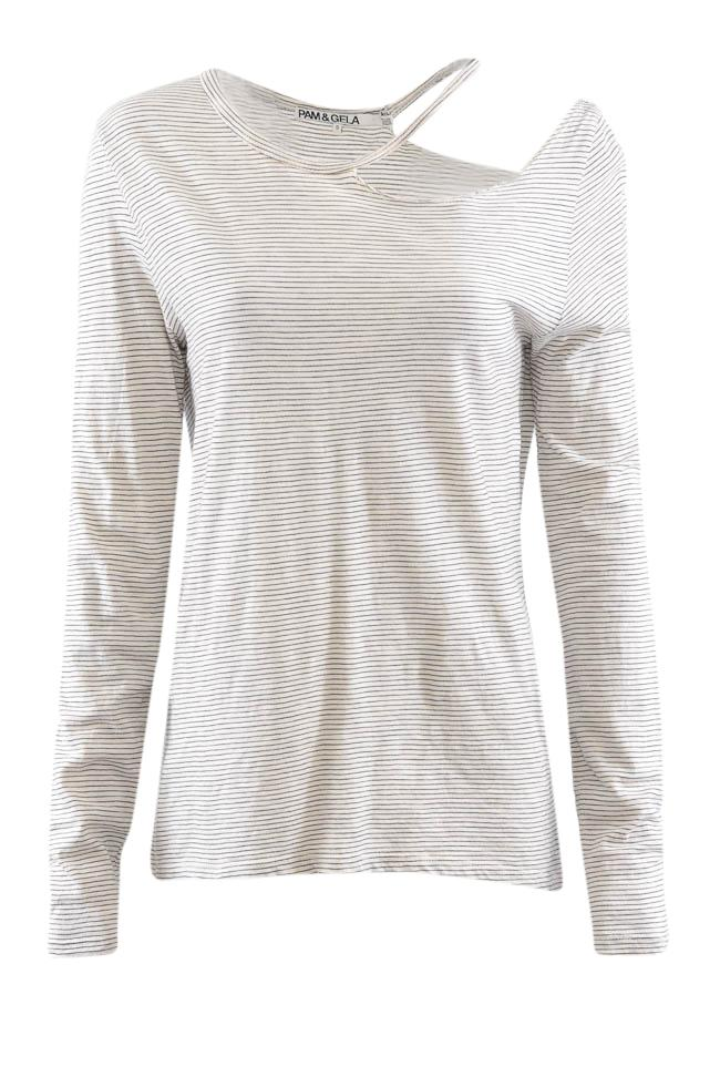 Pam & Gela Long Sleeve Cutout Striped Top - S APPAREL Pam & Gela S White
