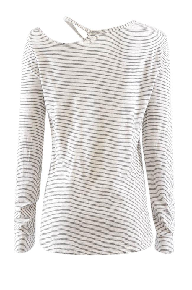 Pam & Gela Long Sleeve Cutout Striped Top - S APPAREL Pam & Gela