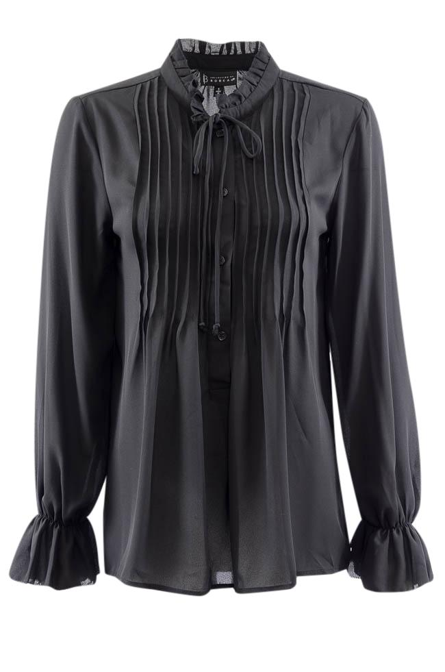 B Collection by Bobeau Button Down Ruffle Pleated Blouse - S APPAREL B Collection by Bobeau S Black