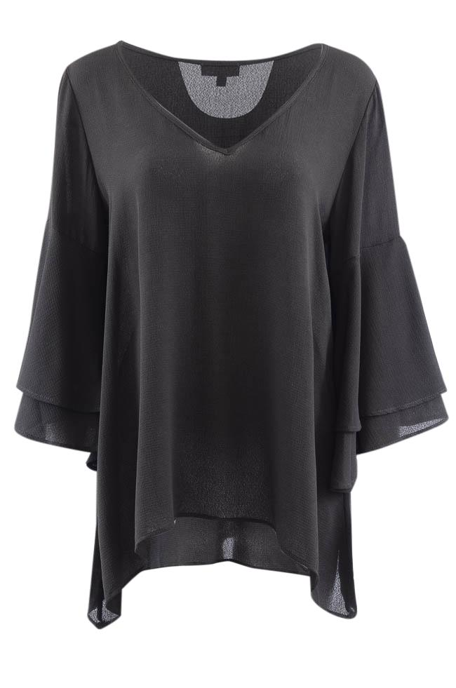 Status By Chenault V-Neck Bell Sleeve Tunic Top - XL APPAREL Status by Chenault XL Black