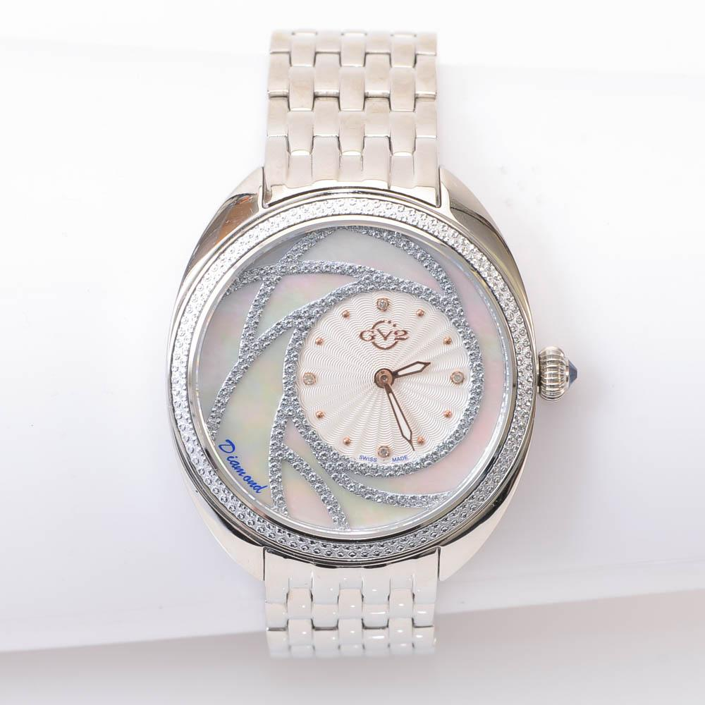GV2 by Gevril Ancoma Round Mother of Pearl Stainless Steel Watch JEWELRY GV2 by Gevril