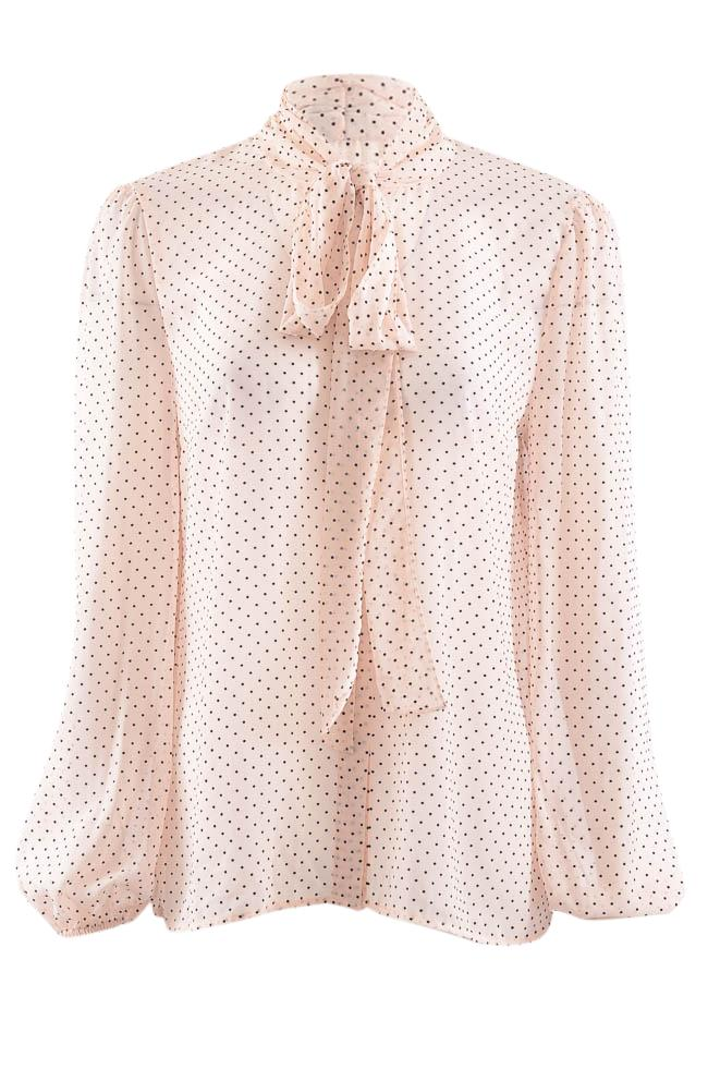 Zoe by Rachel Polka Dot Button Down Long Sleeve Blouse - M APPAREL Zoe by Rachel M Pink