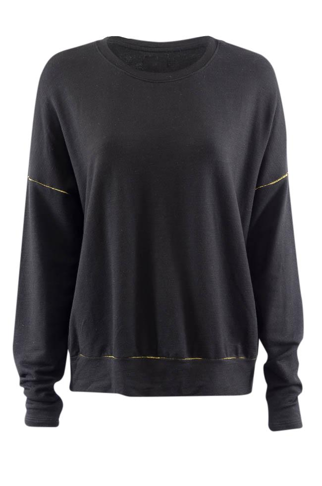 Sundry Long Sleeve Pullover Sweater - L APPAREL Sundry L Black