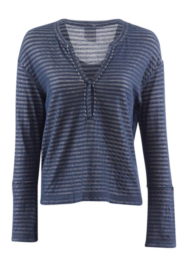 Splendid Striped Reversible V-Neck Long Sleeve Top - S APPAREL Splendid S Blue