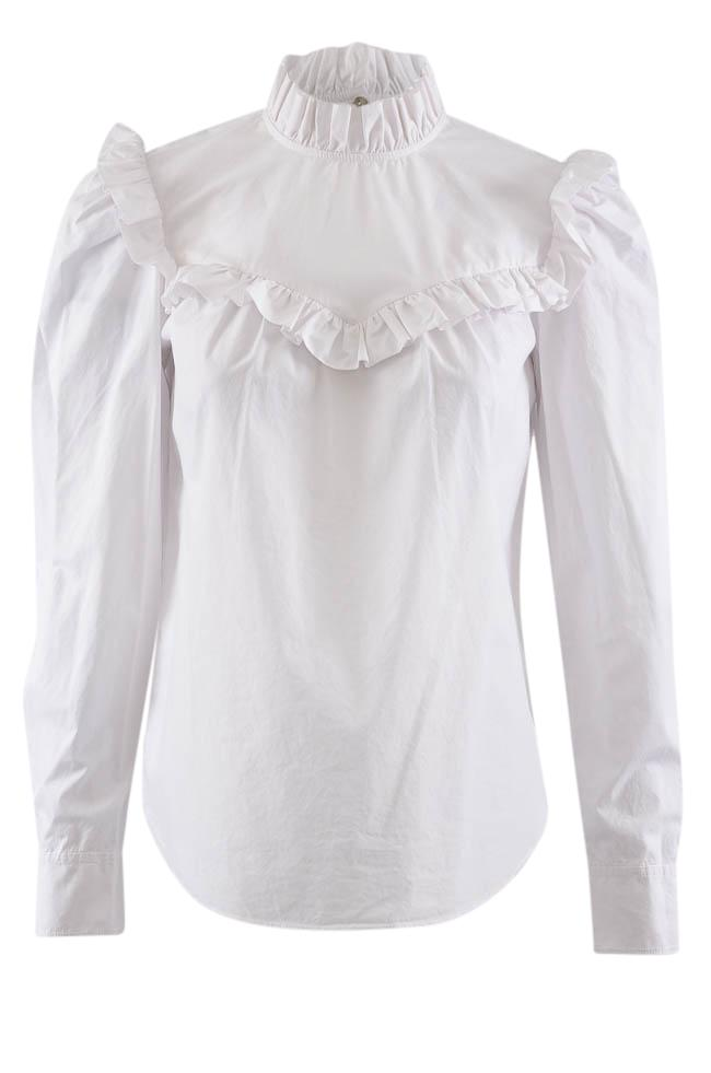 La Vie Ruffled Button Down Long Sleeve Blouse - XS APPAREL La Vie XS White