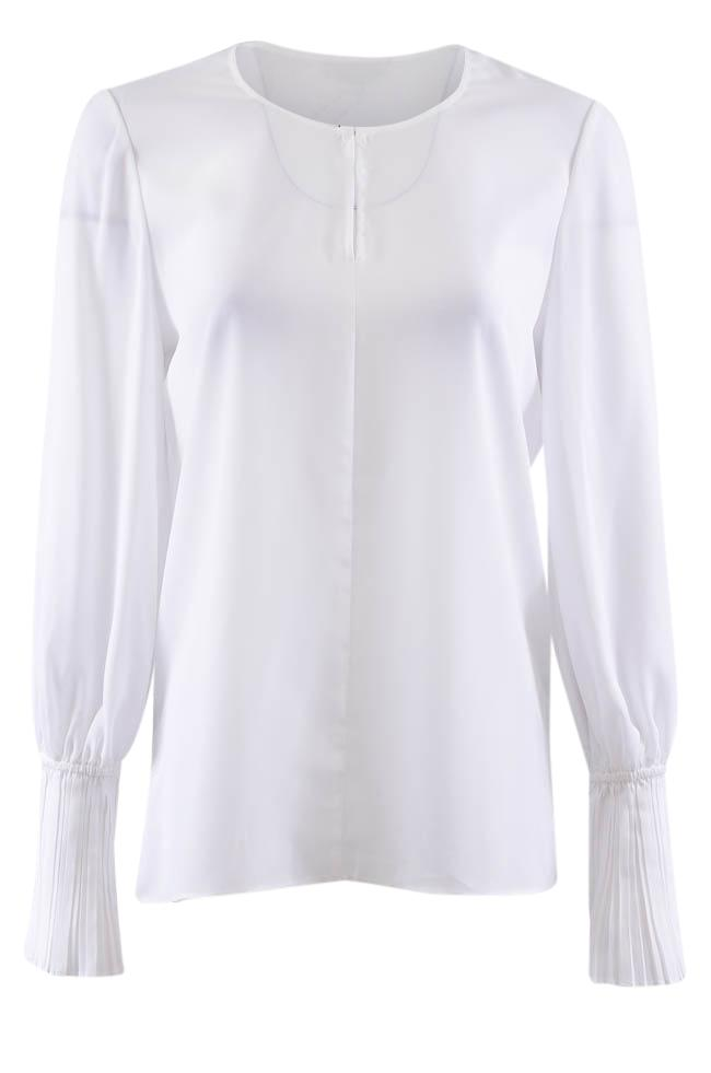 Le Gali Pleated Cuffs Long Sleeve Top - S APPAREL Le Gali S White