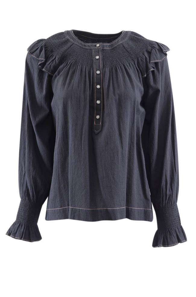 La Vie Rebecca Taylor Ruffled Smock Long Sleeve Top - S APPAREL La Vie S Blue