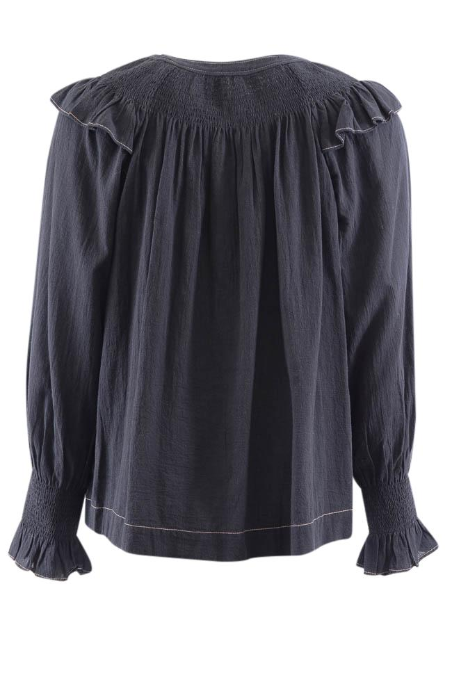 La Vie Rebecca Taylor Ruffled Smock Long Sleeve Top - S APPAREL La Vie