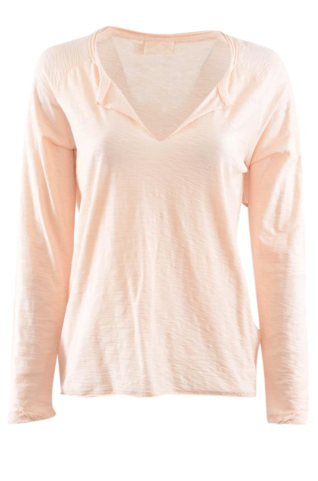 Nation V-Neck Long Sleeve Textured Knit Top - M APPAREL Nation M Pink