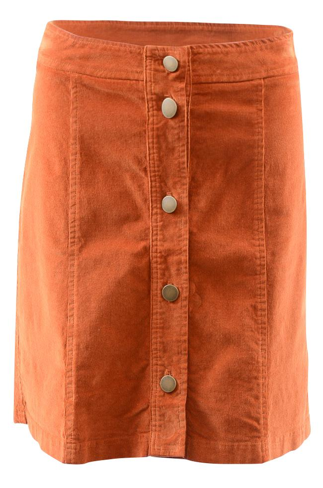 Three Dots Corduroy Button Mini Skirt APPAREL Three Dots X-Small Brown