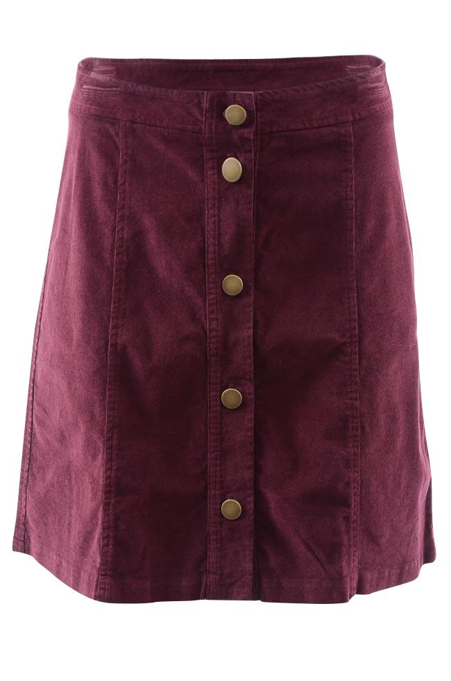 Three Dots Corduroy Button Mini Skirt APPAREL Three Dots Medium Purple
