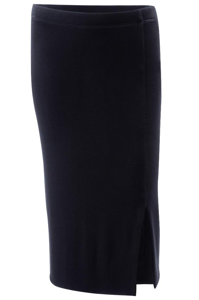 Three Dots Slit Stretch Midi Skirt APPAREL Three Dots Small Black