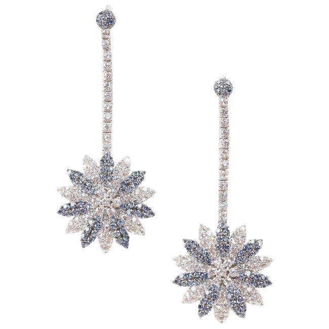 Suzy Levian 925 Sterling 18k White Gold Sapphire Earrings JEWELRY Suzy Levian Silver