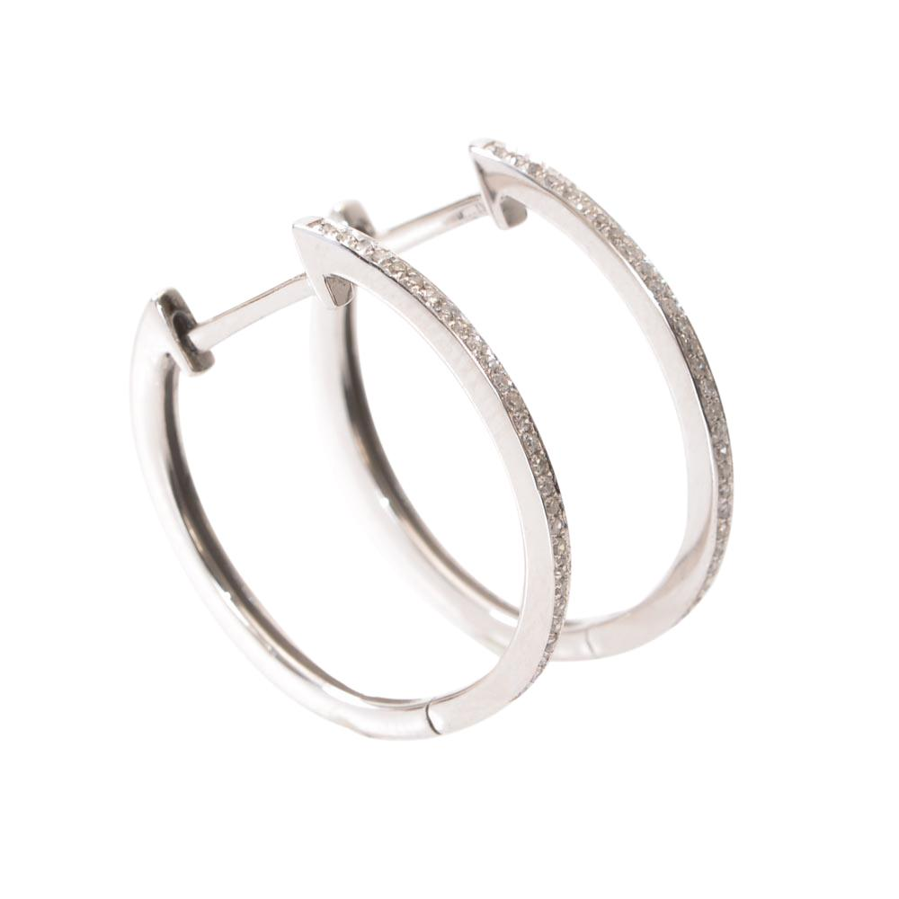 14k White Gold Pave Diamond Huggie Hoop Earrings JEWELRY LFO Outlet Default Title