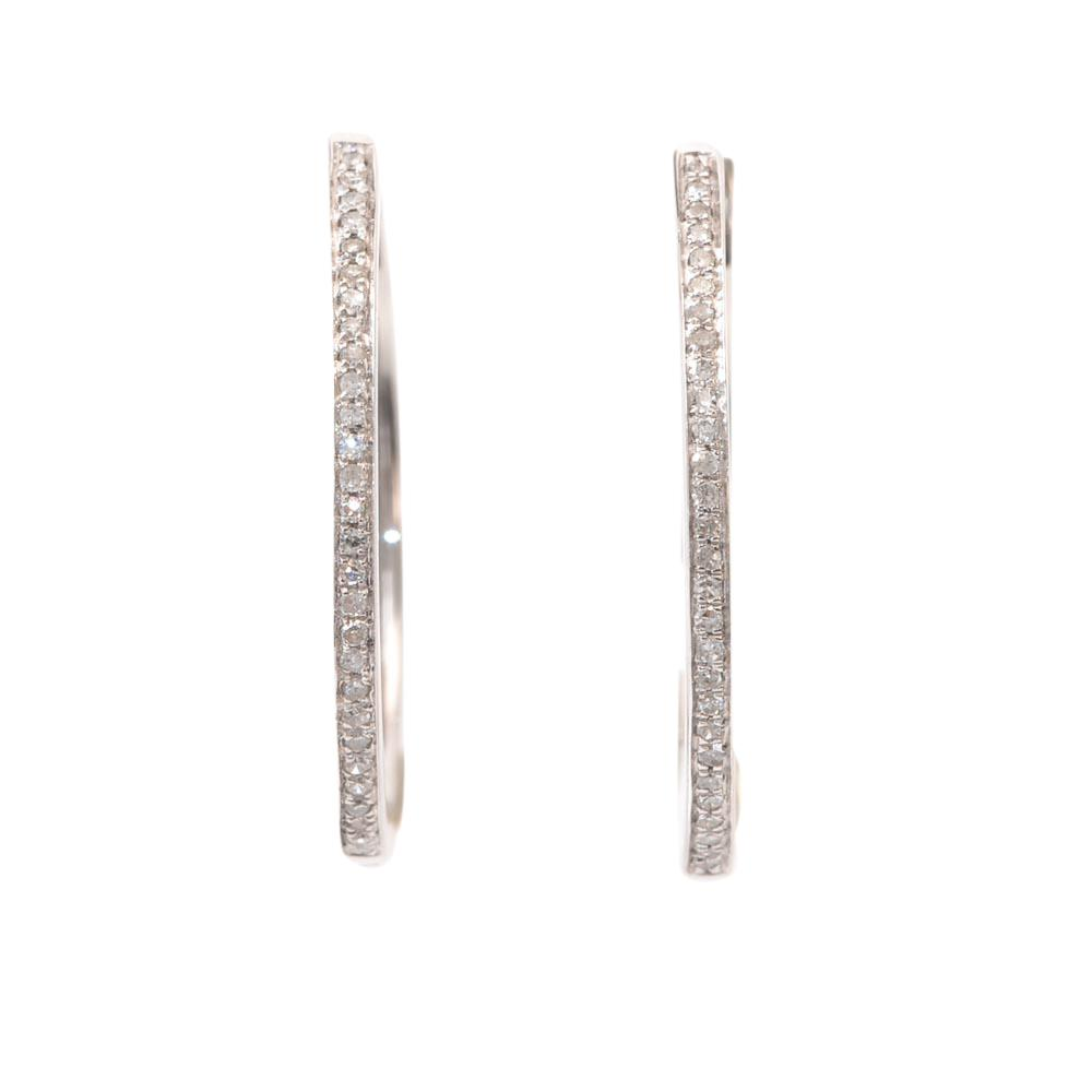 14k White Gold Pave Diamond Huggie Hoop Earrings JEWELRY LFO Outlet
