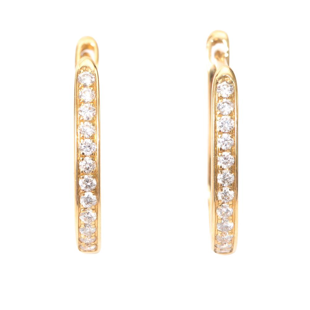 14k Yellow Gold Diamond Hoop Earrings JEWELRY LFO Outlet