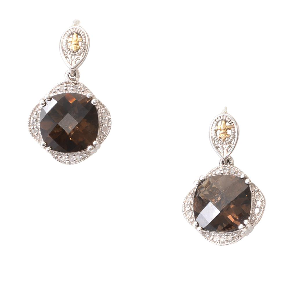 Phillip Gavriel 925 Smokey Quartz Dangle Earrings JEWELRY Phillip Gavriel Silver