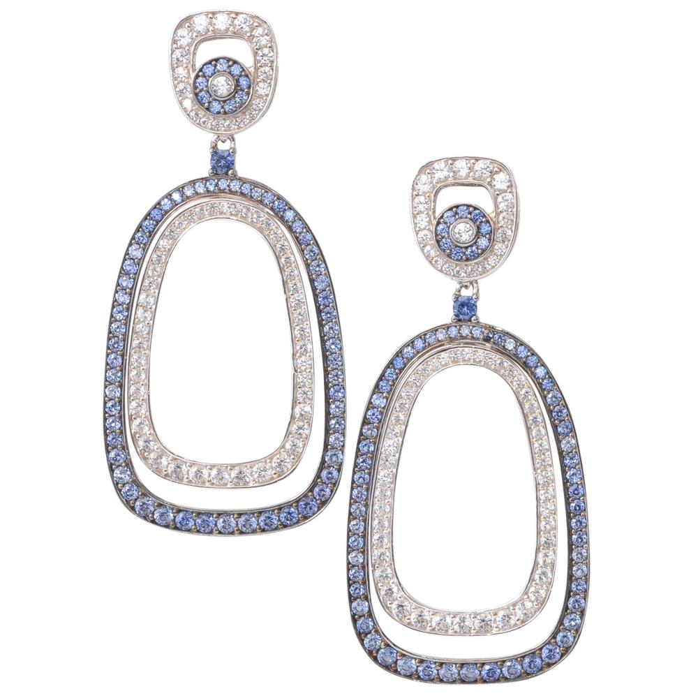 Suzy Levian 925 Round Dangle Earrings JEWELRY Suzy Levian White