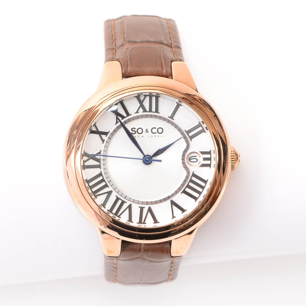 So & Co Rose Gold-Tone Round Date Ladies Quartz Watch JEWELRY So & Co Default Title
