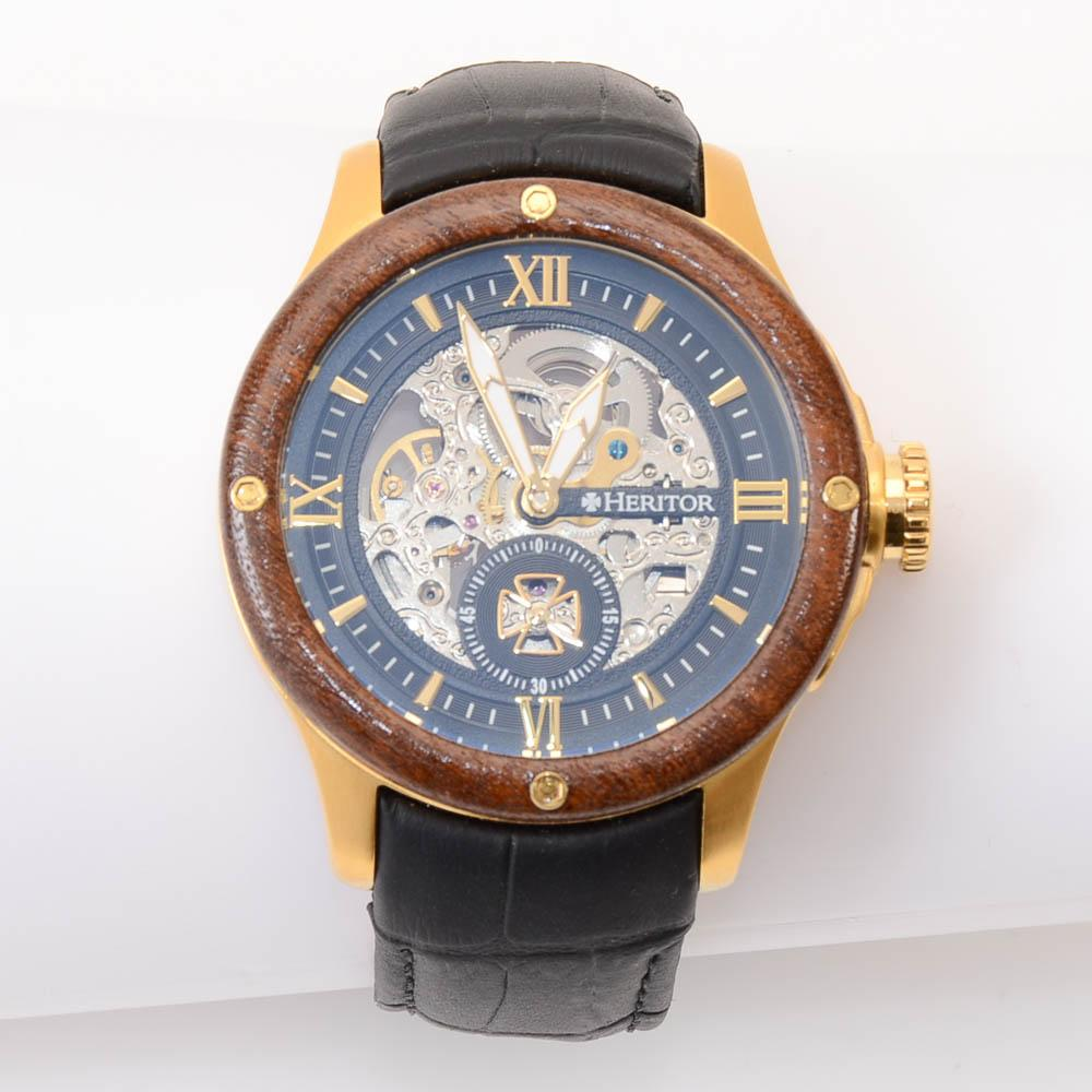 Heritor Montclair Wood Bezel Automatic Mens Watch JEWELRY Heritor Default Title