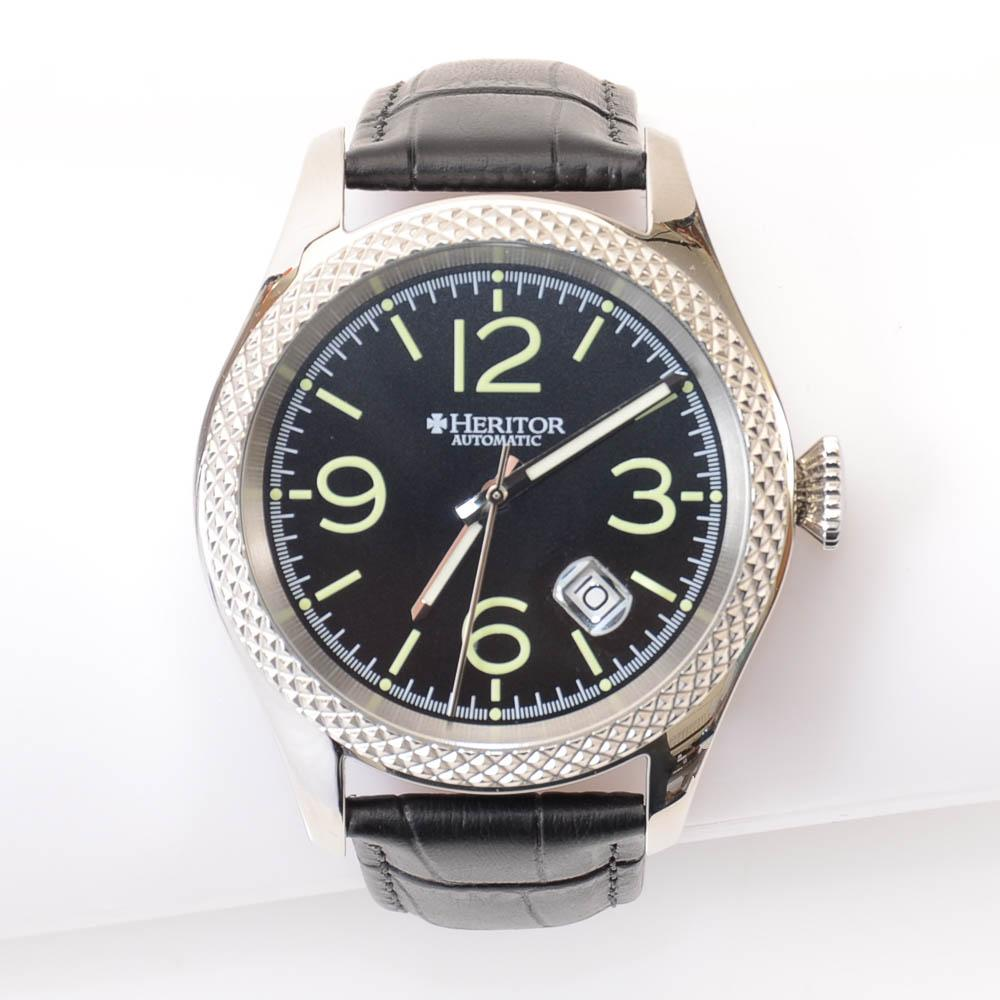 Heritor Barnes Textured Automatic Stainless Steel Watch JEWELRY Heritor Default Title