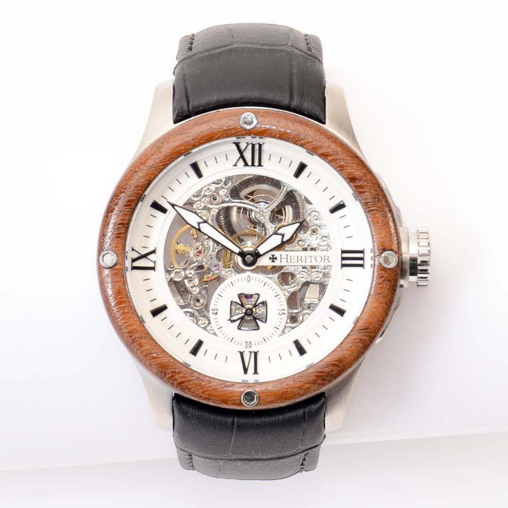 Heritor Montclair Wood Bezel Automatic Stainless Steel Watch JEWELRY Heritor Default Title