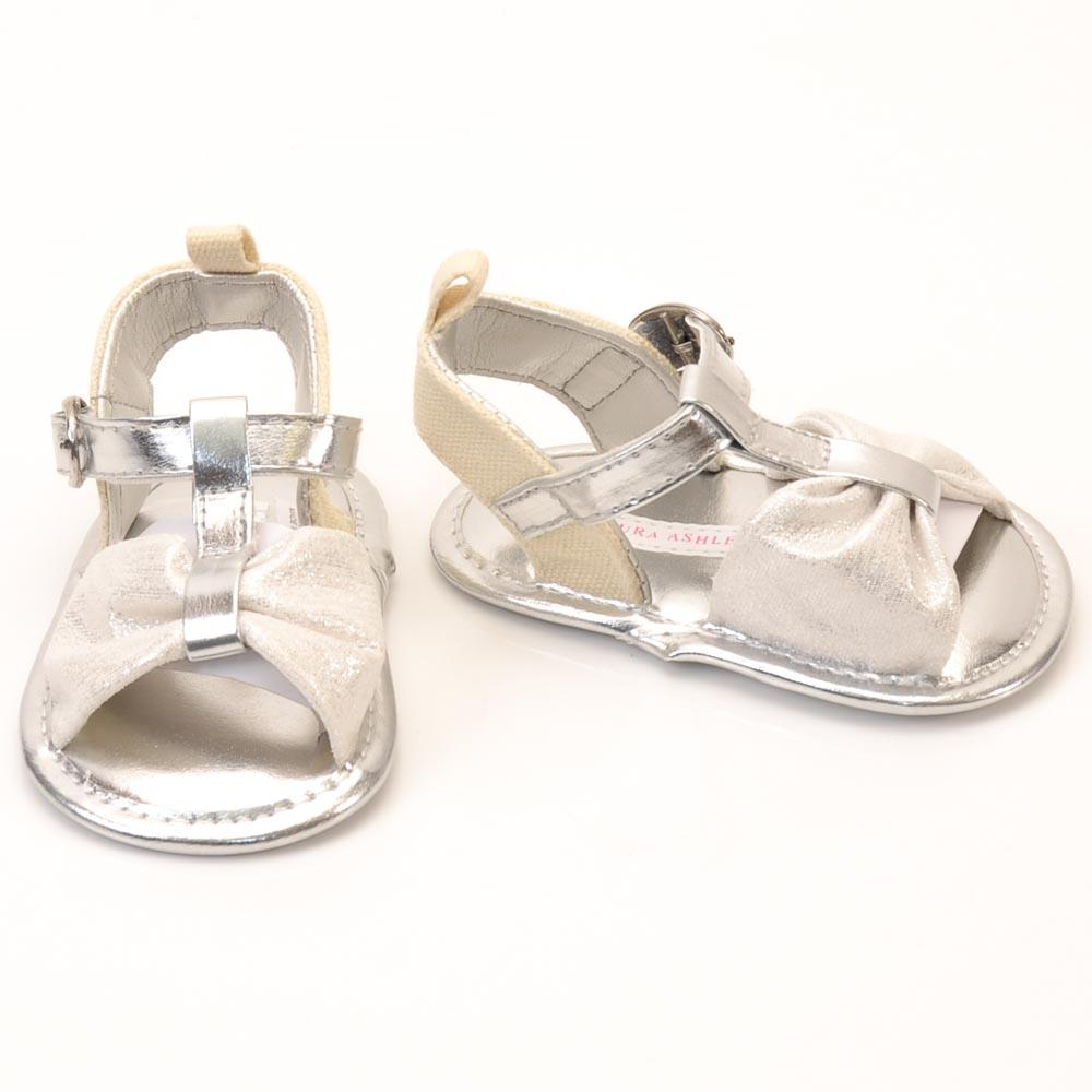 Baby Girls' Laura Ashley Metallic Bow Sandal SHOES Laura Ashley 2 Baby Metallic