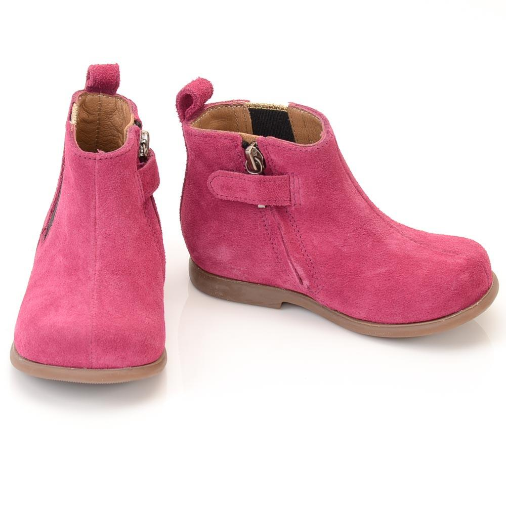 Baby Girls' Pom D'api Suede Zip Boot - 4 SHOES Pom D'api 4 Baby Pink