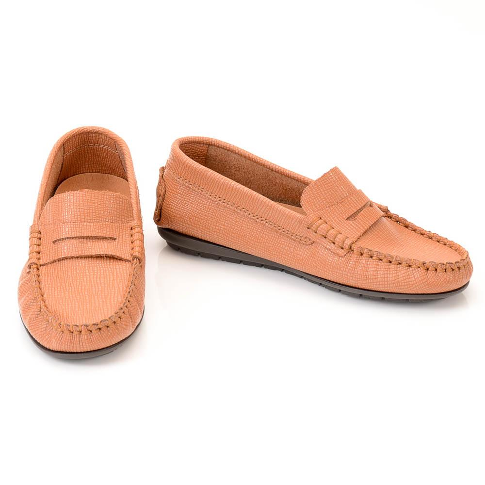 Boys' Atlanta Moccasin Texture Leather Penny Loafer SHOES Atlanta Moccasin 13.5 Kid Brown
