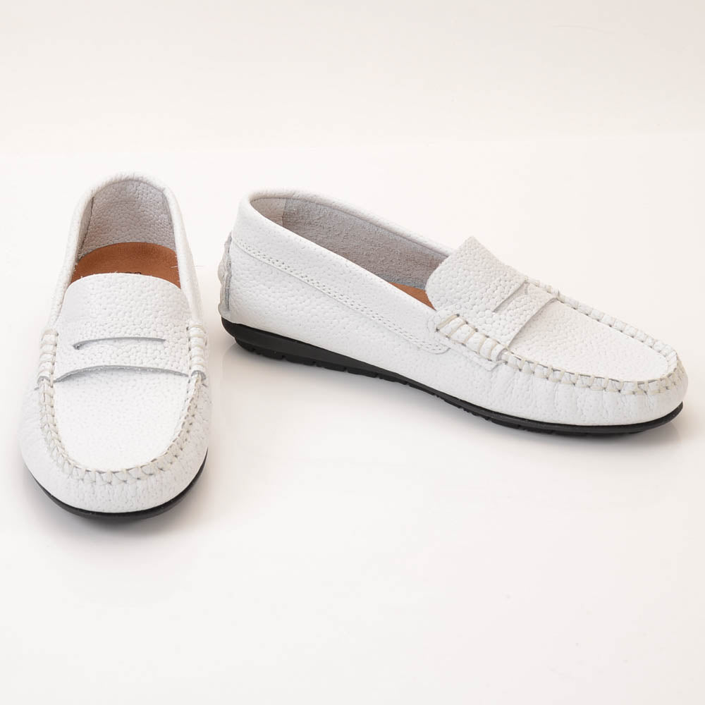 Boys' Atlanta Moccasin Grainy Leather Penny Loafer SHOES Atlanta Moccasin 3.5 Kid White