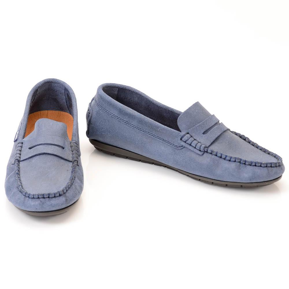 Boys' Atlanta Moccasin Suede Penny Loafer Shoe SHOES Atlanta Moccasin 3.5 Blue