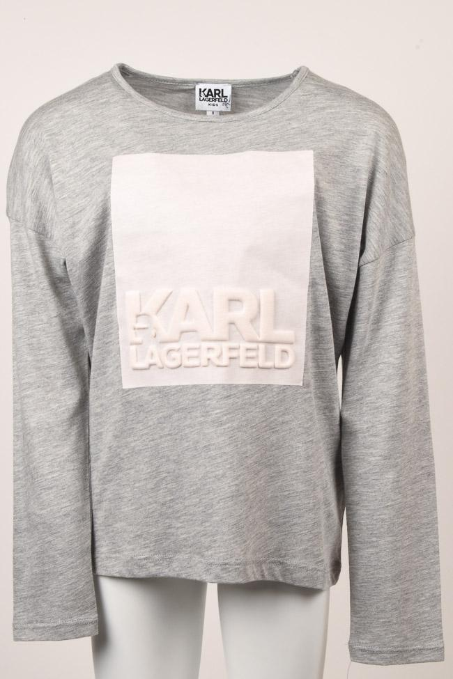 Girls Karl Lagerfeld Kids Logo T-shirt Top - 8 APPAREL Karl Lagerfeld Kids 8 Gray