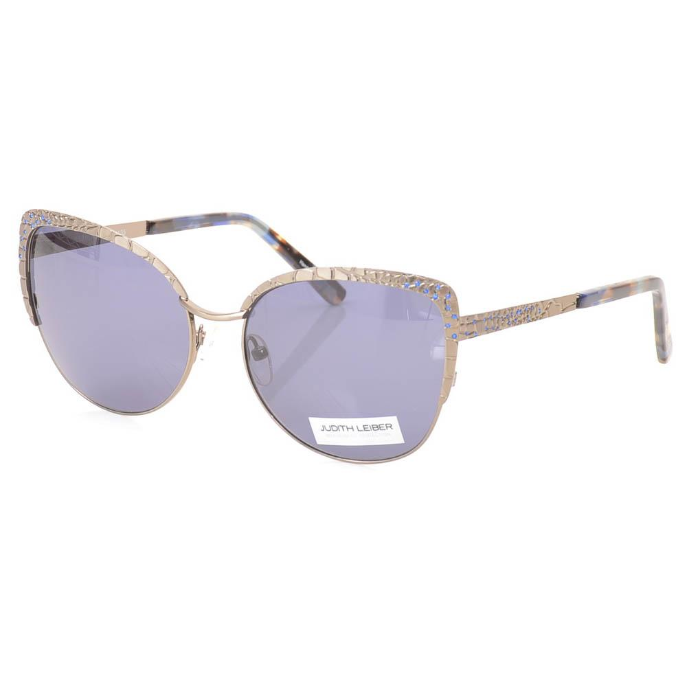 Judith Leiber Embellished Engraved Crocodile Cat Eye Sunglasses` ACCESSORIES Judith Leiber 56-16-135 Gray