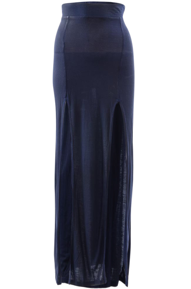 Benjamin Jay Waxed Jersey Slit Maxi Skirt APPAREL Benjamin Jay Small Blue