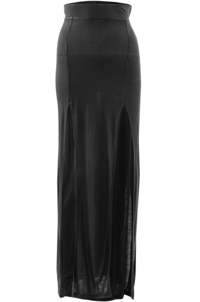 Benjamin Jay Waxed Jersey Slit Maxi Skirt APPAREL Benjamin Jay X-Small Black