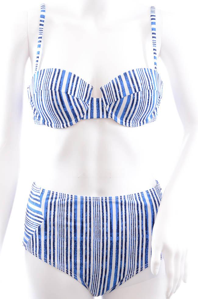 Tart Collections 2 Piece High Waisted Stripe Bikini Set - M APPAREL Tart Collections Medium Blue