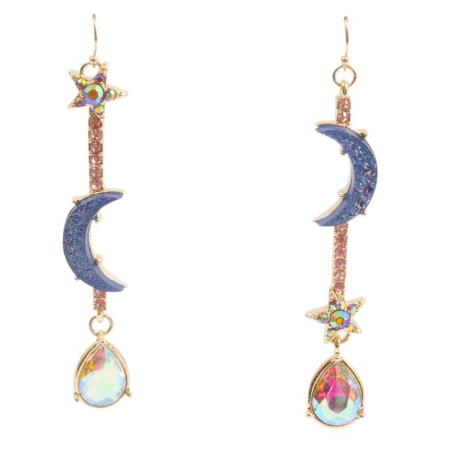 Betsey Johnson Star Moon Drop Earrings JEWELRY Betsey Johnson Pink