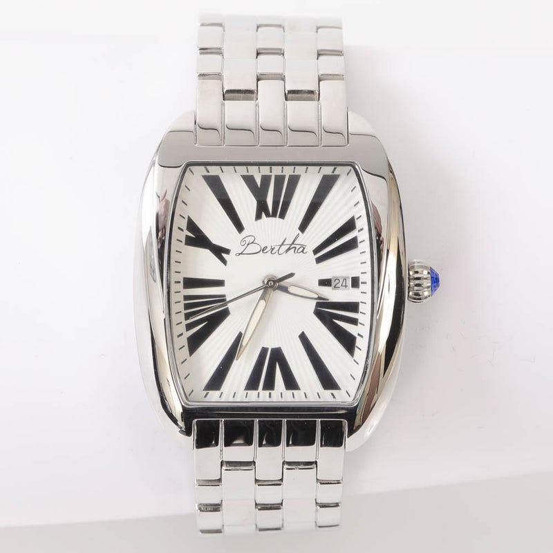 Bertha Anastasia Silver Stainless Steel Rectangle Ladies Quartz Watch JEWELRY Bertha