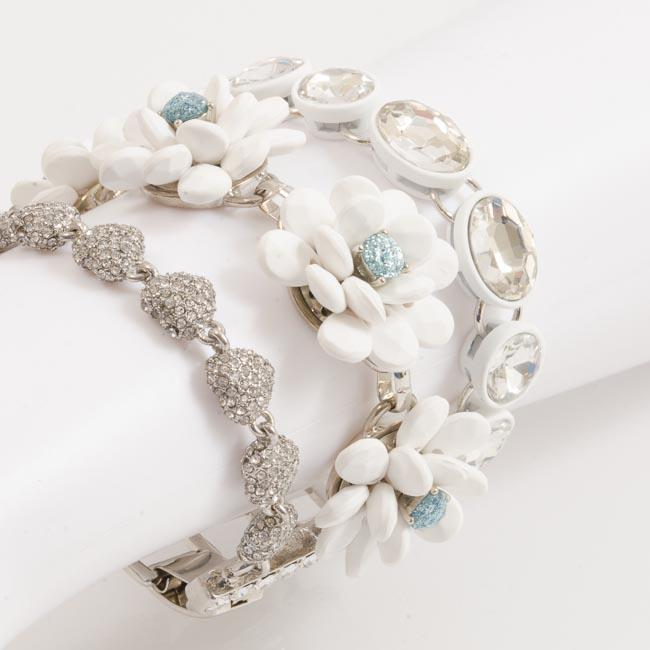 Blue by Betsey Johnson La La Flower Statement Bracelet JEWELRY Blue by Betsey Johnson White