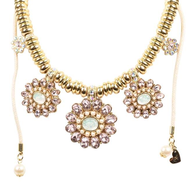 Blue by Betsey Johnson Floral Crystal Necklace JEWELRY Blue by Betsey Johnson Pink