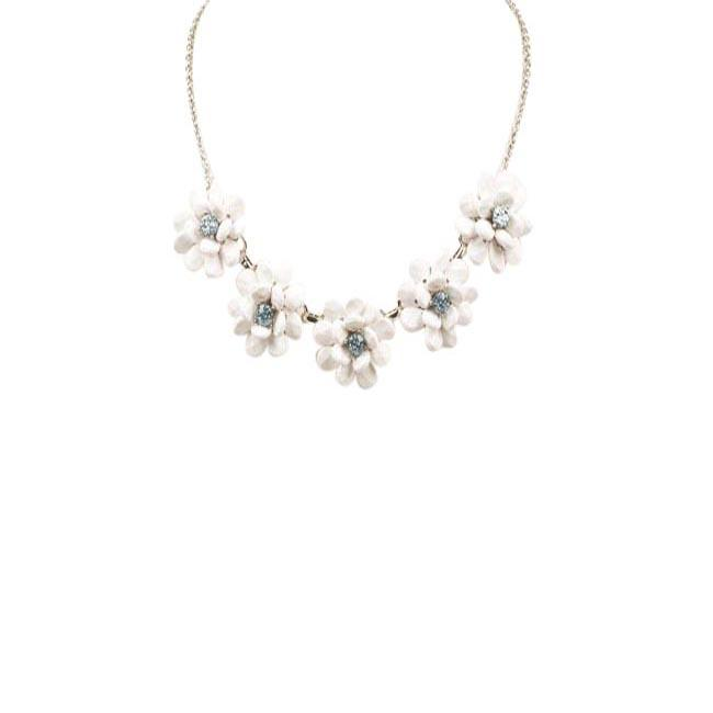 Blue by Betsey Johnson La La Floral Fontal Necklace JEWELRY Blue by Betsey Johnson White