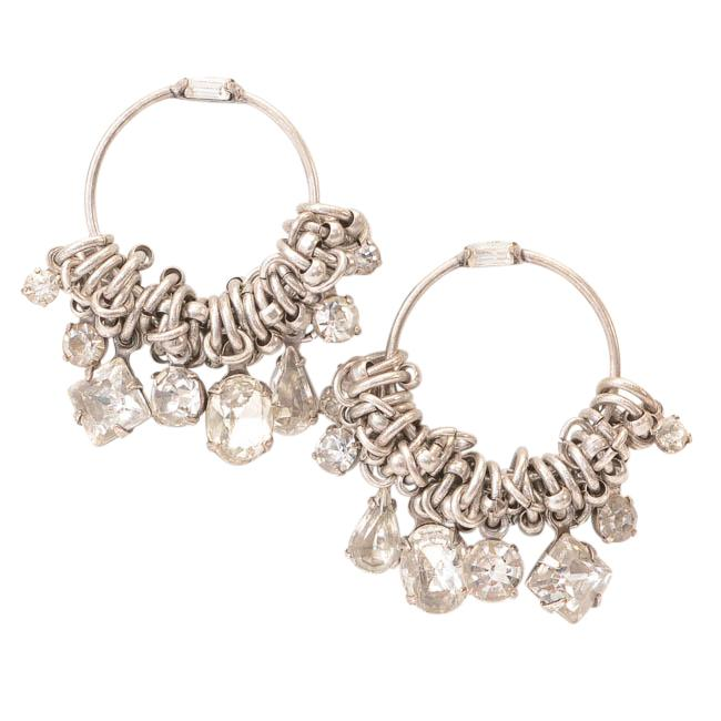 Dannijo Silver-tone Chain-link Crystal Hoop Earrings JEWELRY Dannijo Default Title