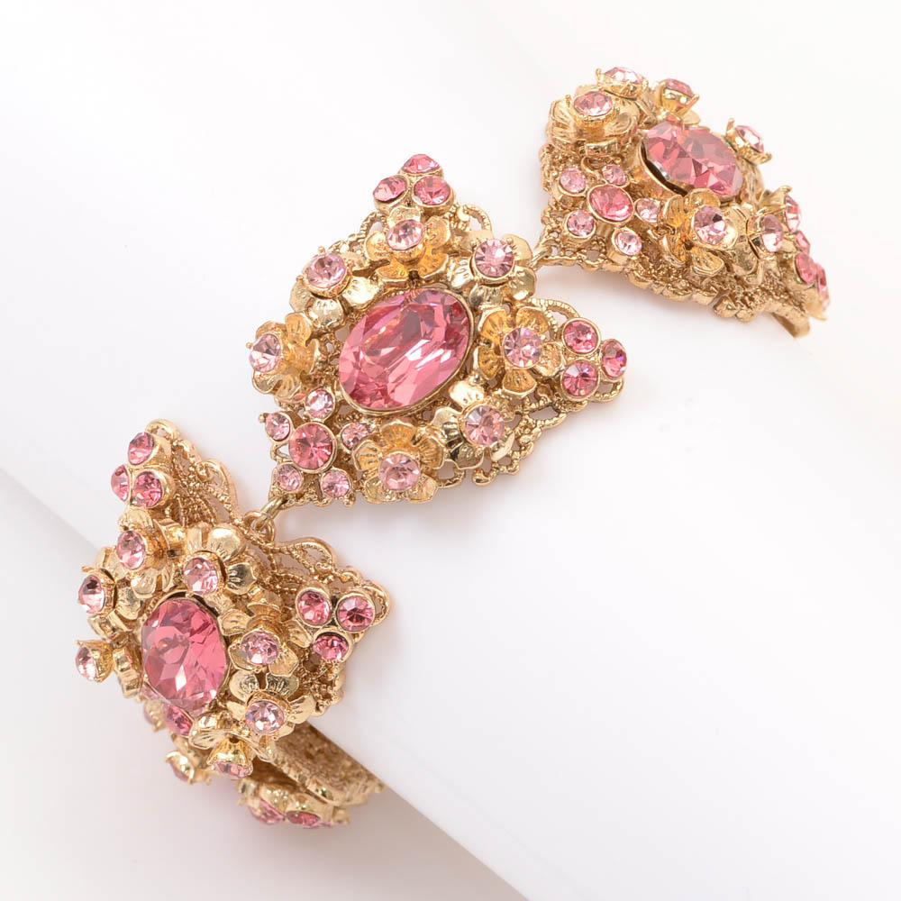 Miriam Haskell Crystal Floral Statement Bracelet JEWELRY Miriam Haskell Default Title