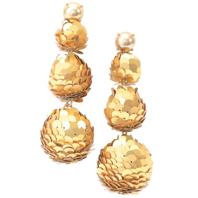 J.Crew Sequin Embellished Tiered Ball Drop Earrings JEWELRY J.Crew Gold