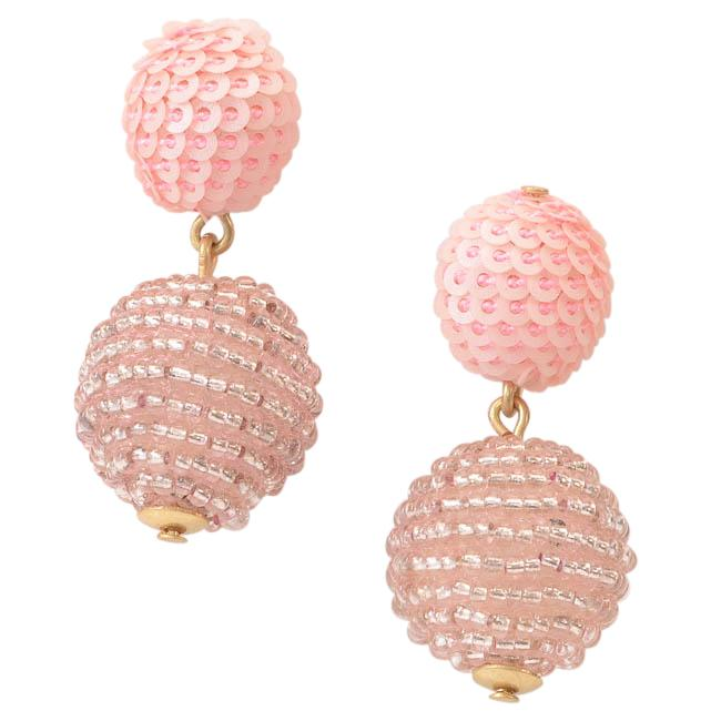 J.Crew Sequin Bead Ball Drop Earrings JEWELRY J.Crew Pink