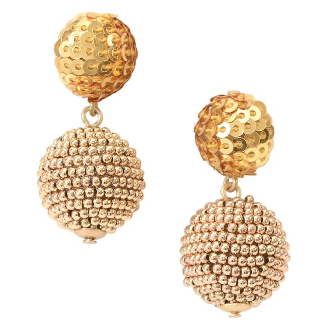 J.Crew Sequin Bead Ball Drop Earrings JEWELRY J.Crew Gold