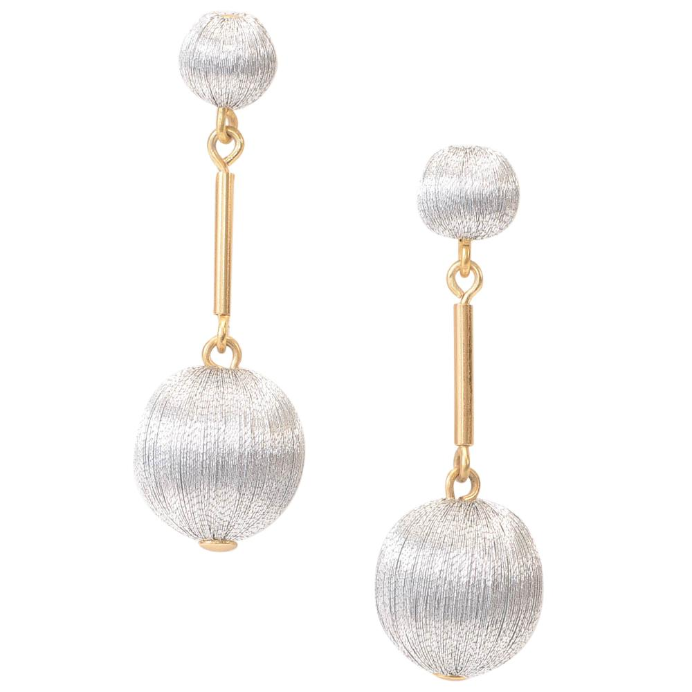 J.Crew Thread Ball Drop Dangle Earrings JEWELRY J.Crew Silver